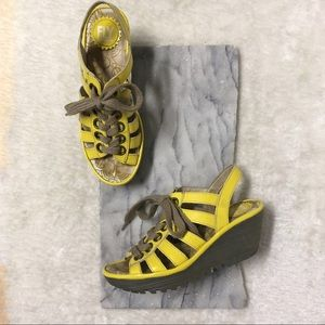 Fly London Yito Mustard Yellow Lace Up Wedge 7